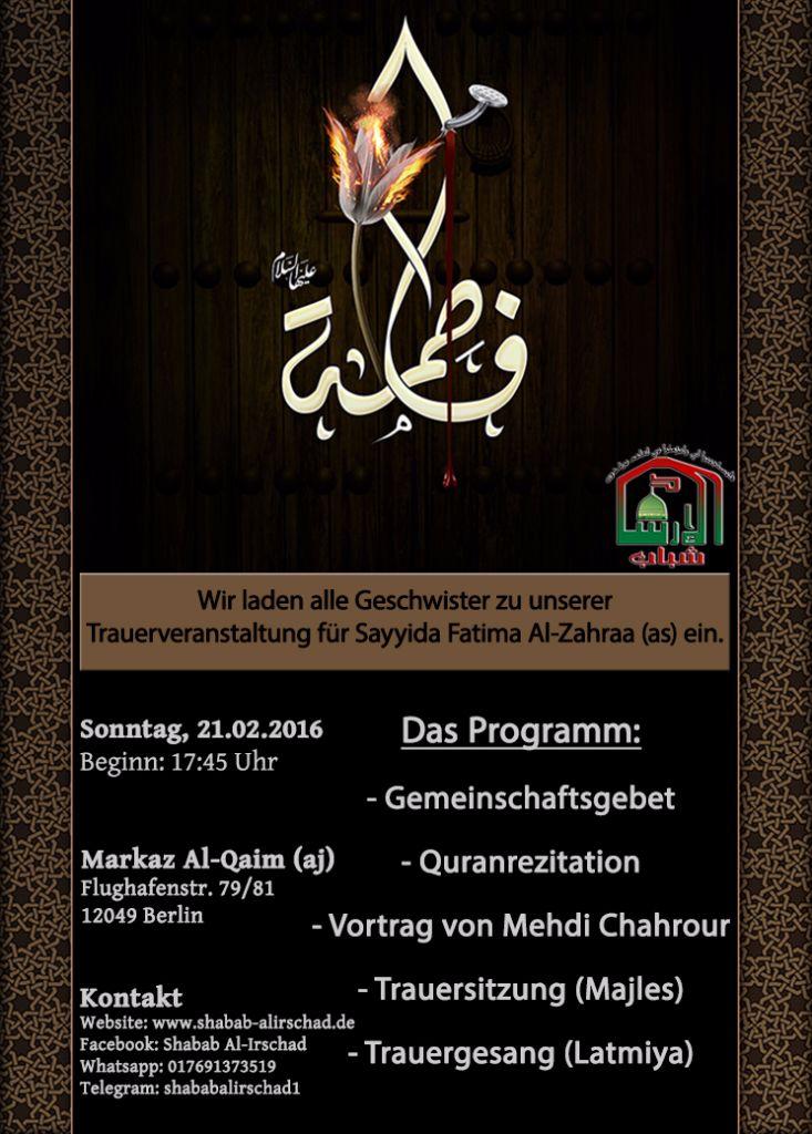 Trauerprogramm für Sayida Fatima as am Sonntag