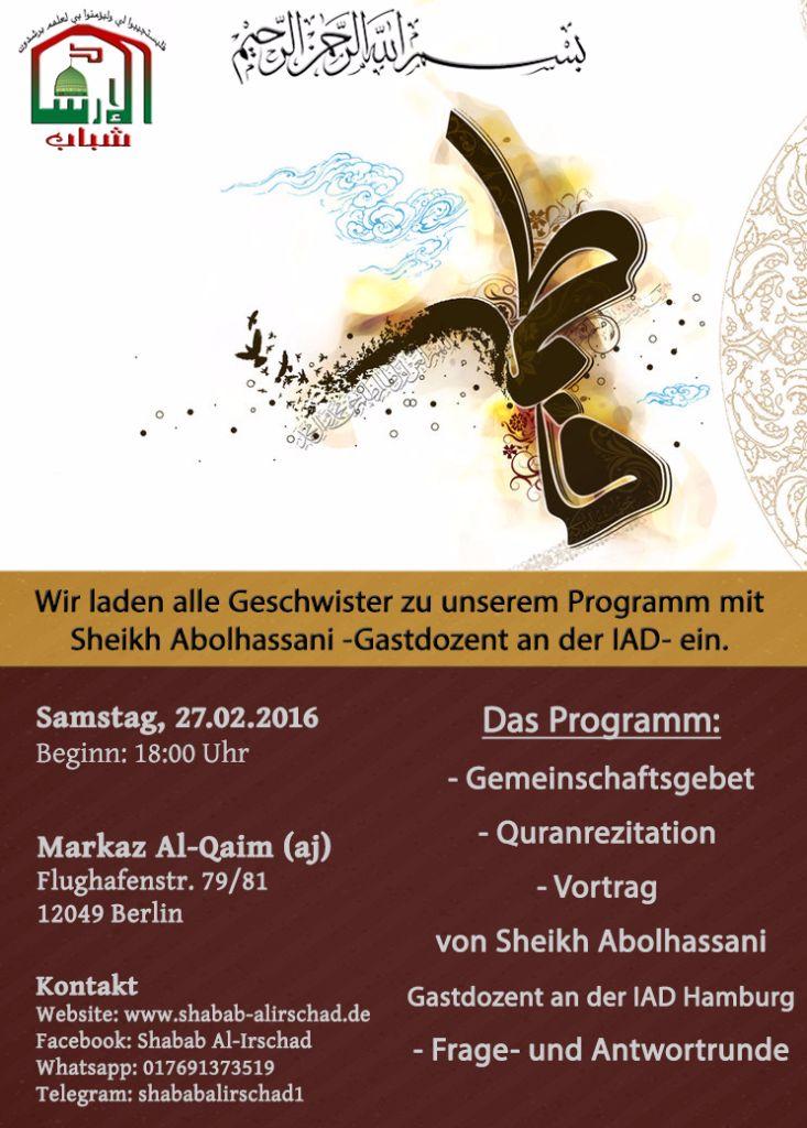 Samstagsprogramm mit Sheikh Abolhassani