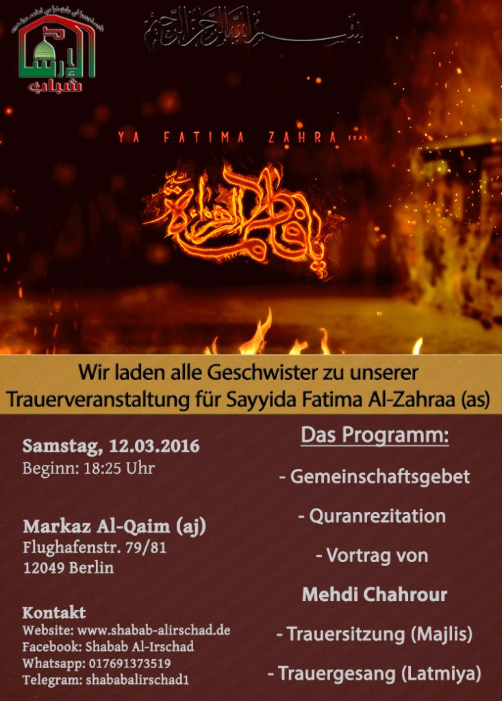 Trauerprogramm für Sayida Fatima (as)