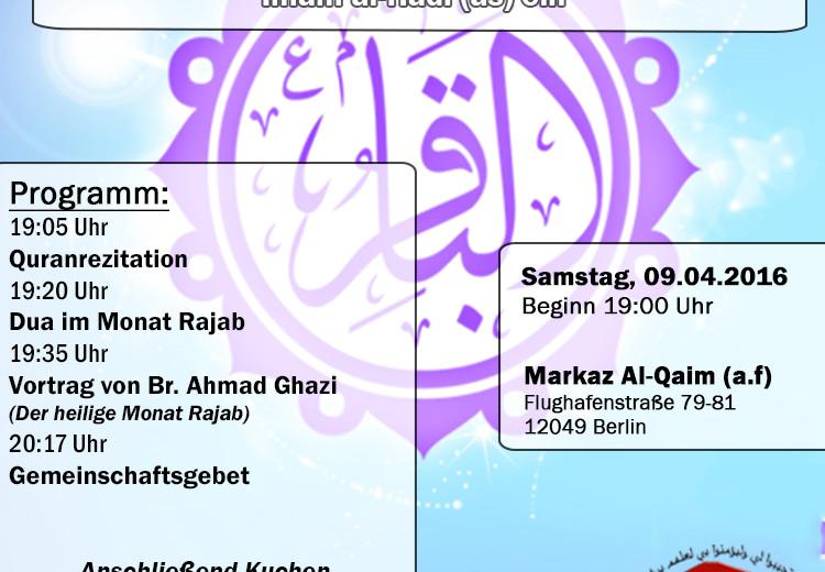 Samstagsprogramm: Geburtstag von Imam Baqir und Imam Al-Hadi
