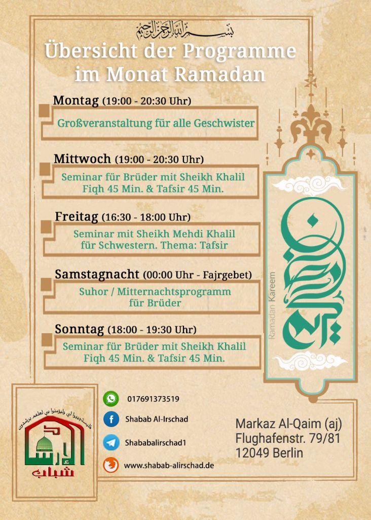 Übersicht Ramadanprogramme 2016