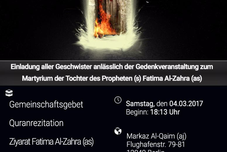 Programm 04.03.017: Martyrium Sayida Al-Zahra (as)